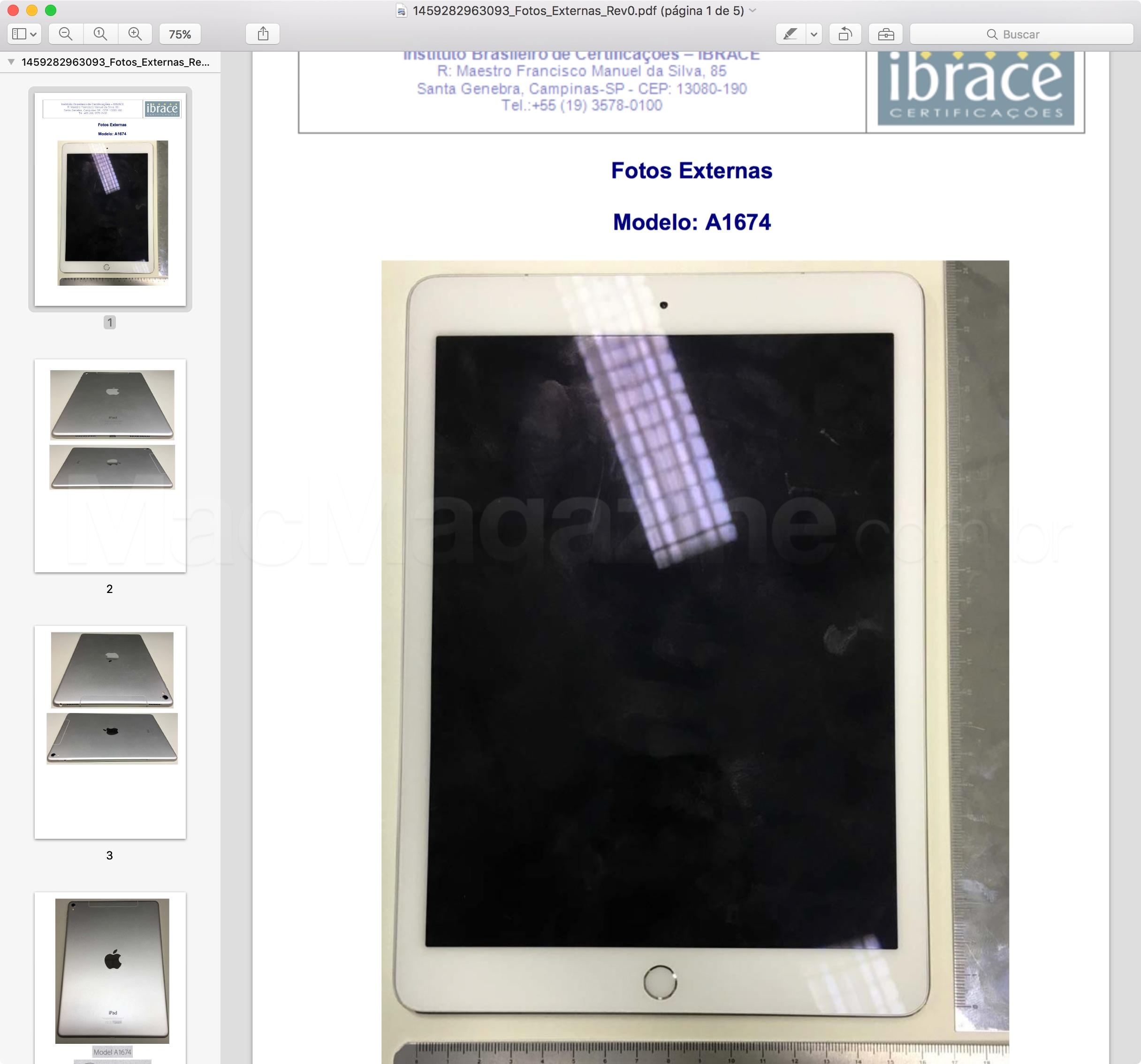 Anatel homologa iPad Pro de 9,7 polegadas Wi-Fi + Cellular (A1674)