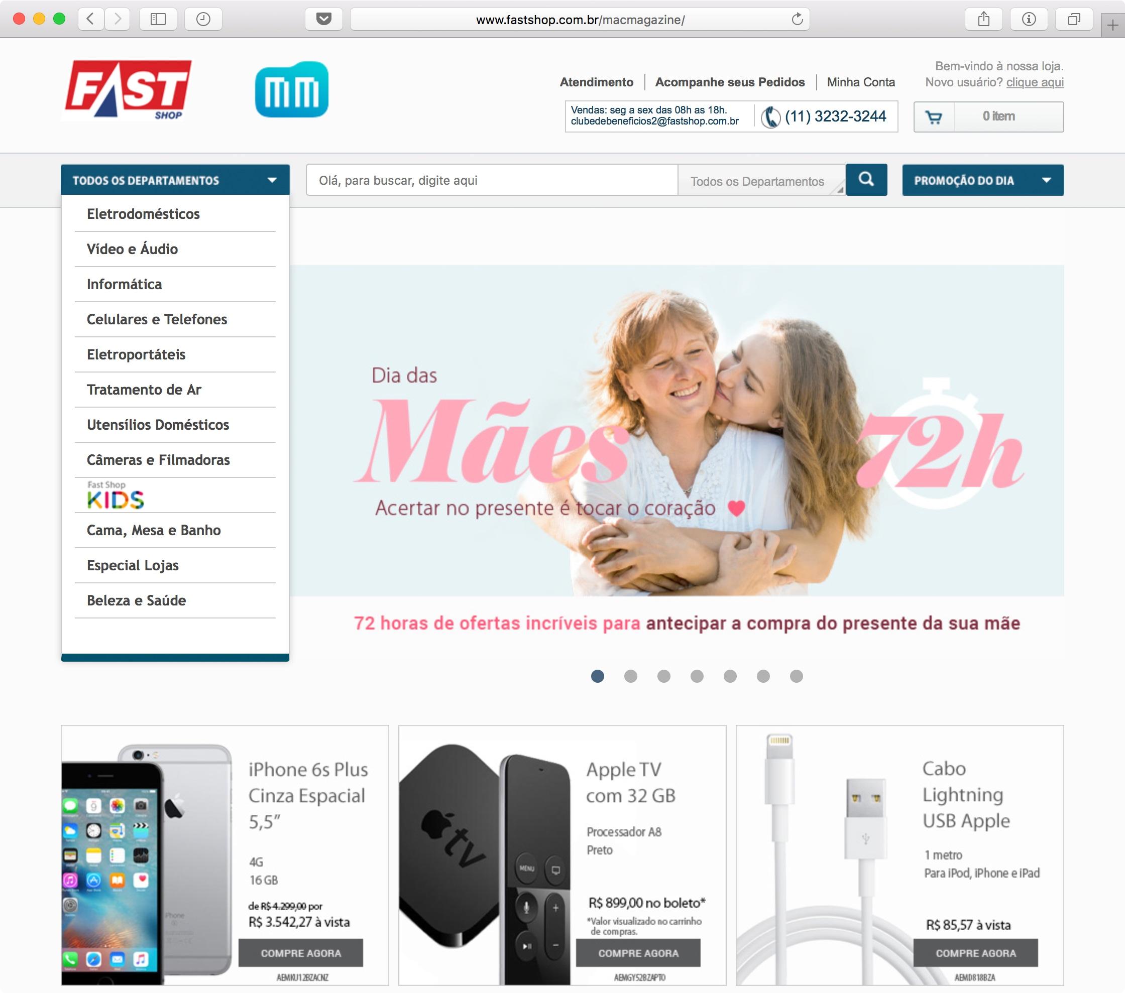 Hotsite do MacMagazine na Fast Shop