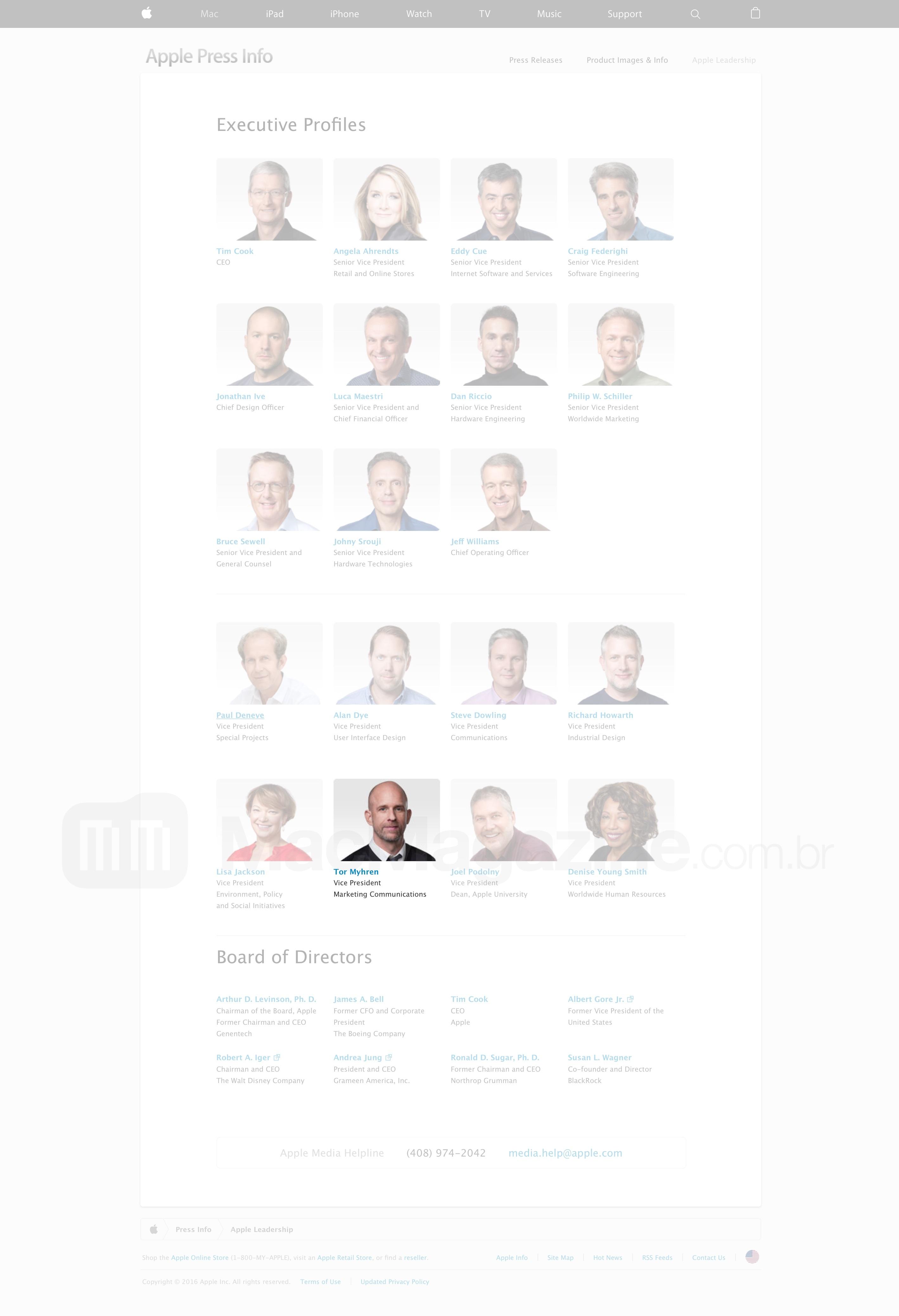Tor Myhren na página de executivos da Apple