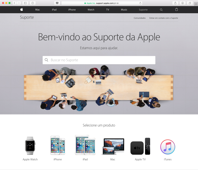 Novo site de Suporte da Apple