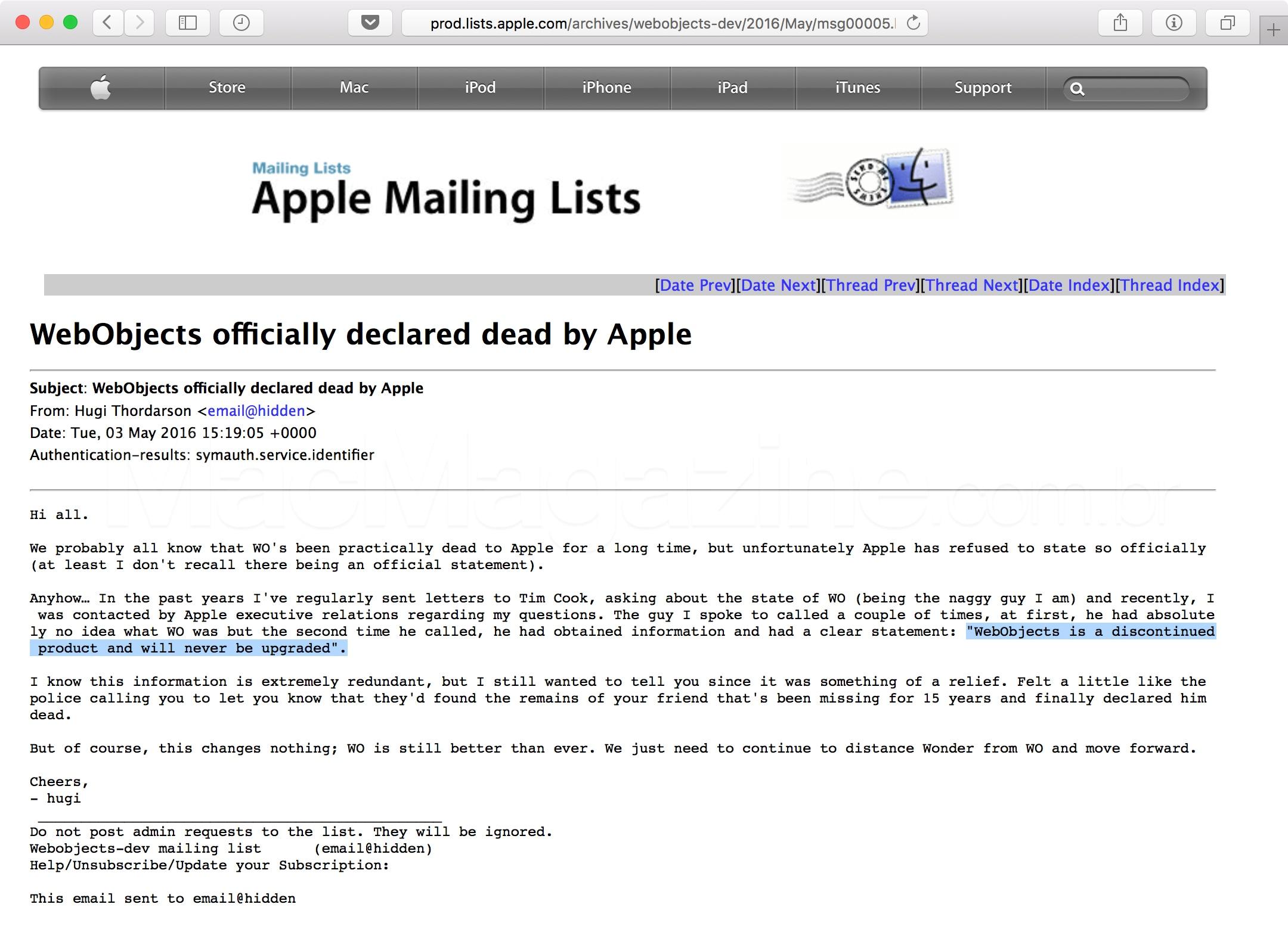 Email sobre o fim do WebObjects