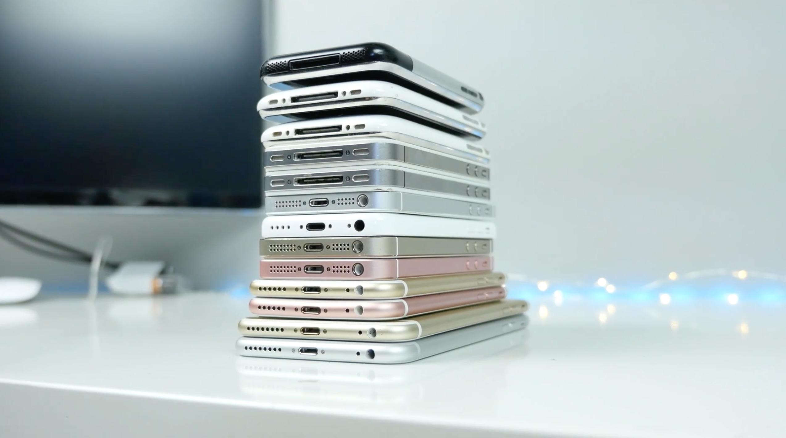 Todos os iPhones lançados até hoje, empilhados