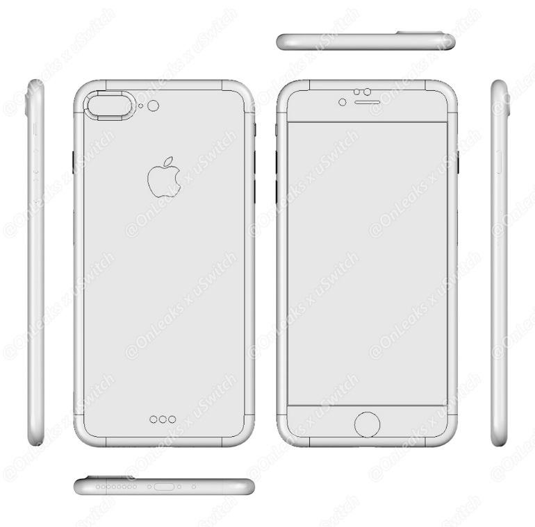 "Suposto desenho 3D do ""iPhone 7 Plus"""