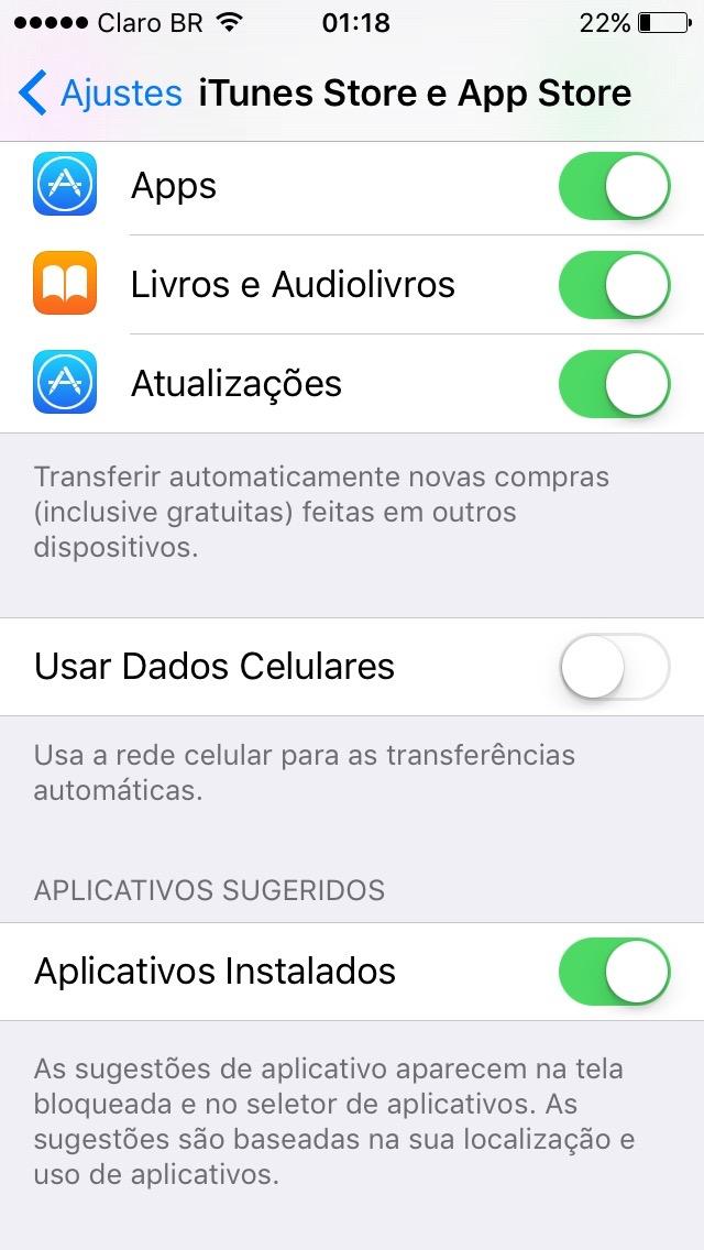 Tela de configuração da App Store