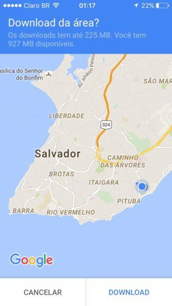 Tela de salvar mapa offline no Google Maps