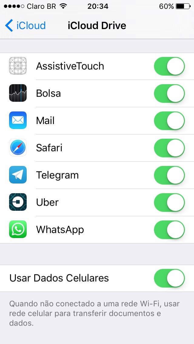Tela de configuração do iCloud Drive
