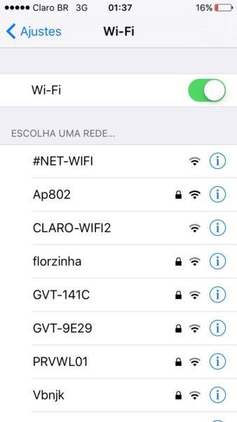 Tela de Ajustes Wifi no iOS 9