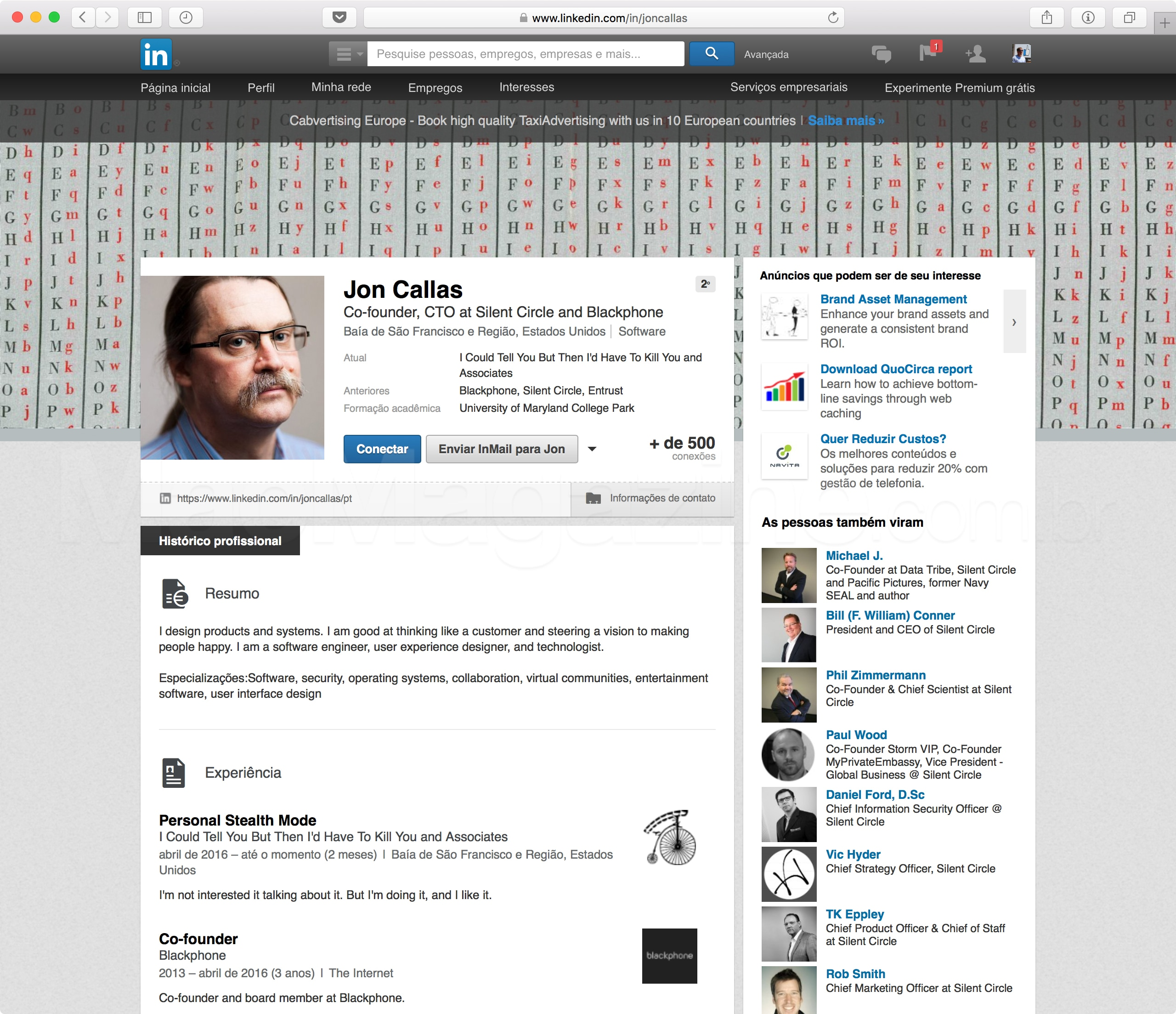 Perfil de Jon Callas no LinkedIn