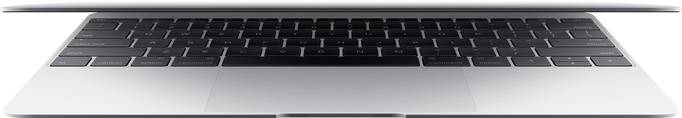 MacBook prata de 12 polegadas quase fechado com o teclado em destaque