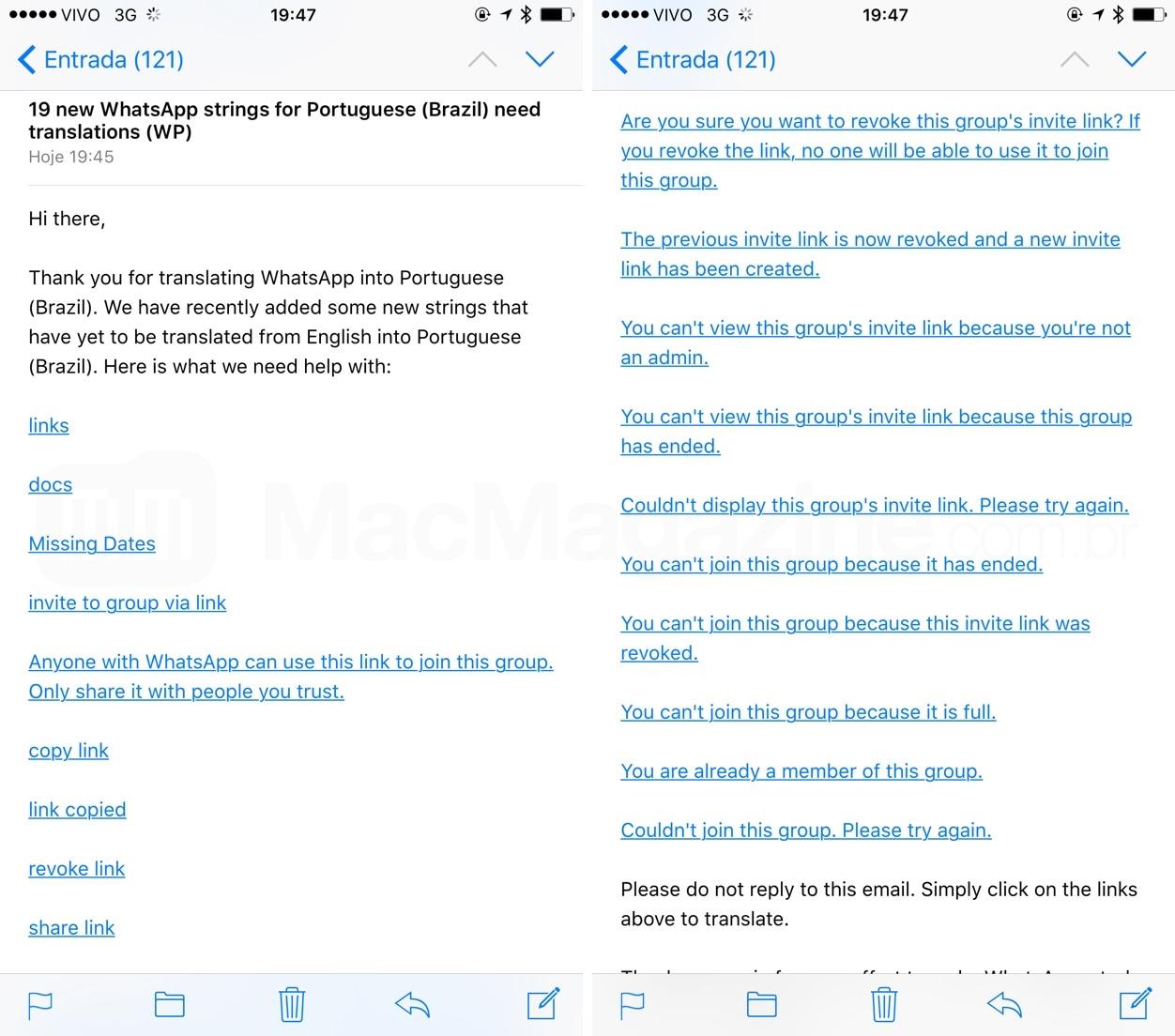 Pedido de tradução do WhatsApp indicando novos recursos