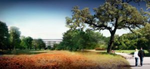Render do campus/espaçonave da Apple