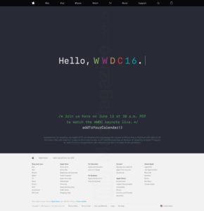 Página da transmissão ao vivo da WWDC 2016