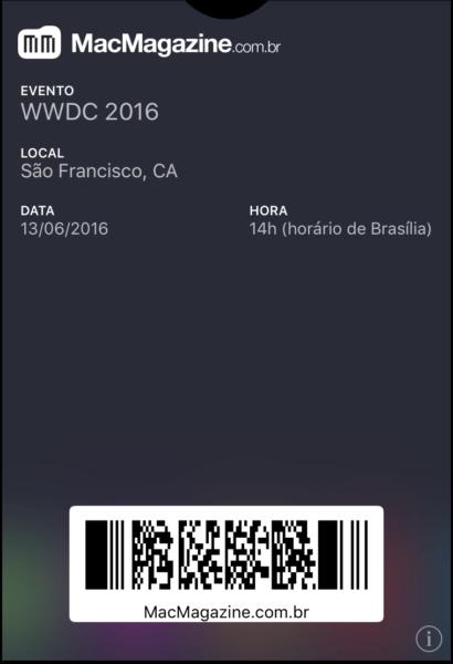 Tíquete para o Wallet - WWDC 2016