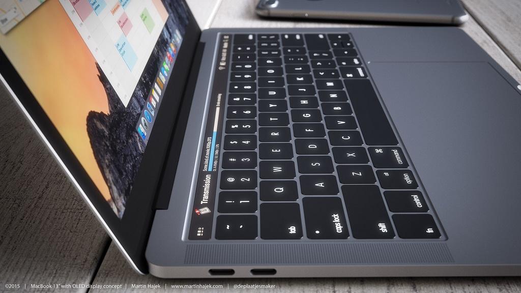 Mockup da tela OLED acima do teclado do novo MacBook Pro