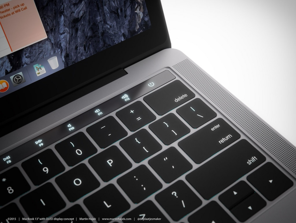 Mockup da tela OLED acima do teclado do novo MacBook Pro