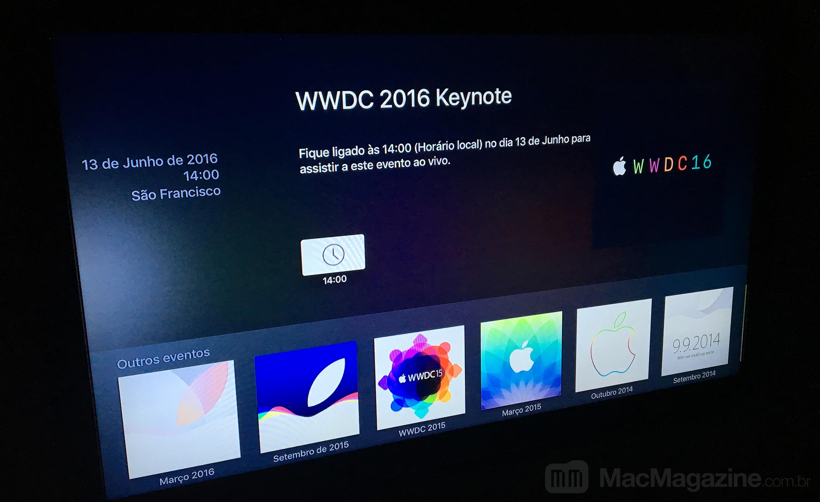 Canal da WWDC 2016 na Apple TV
