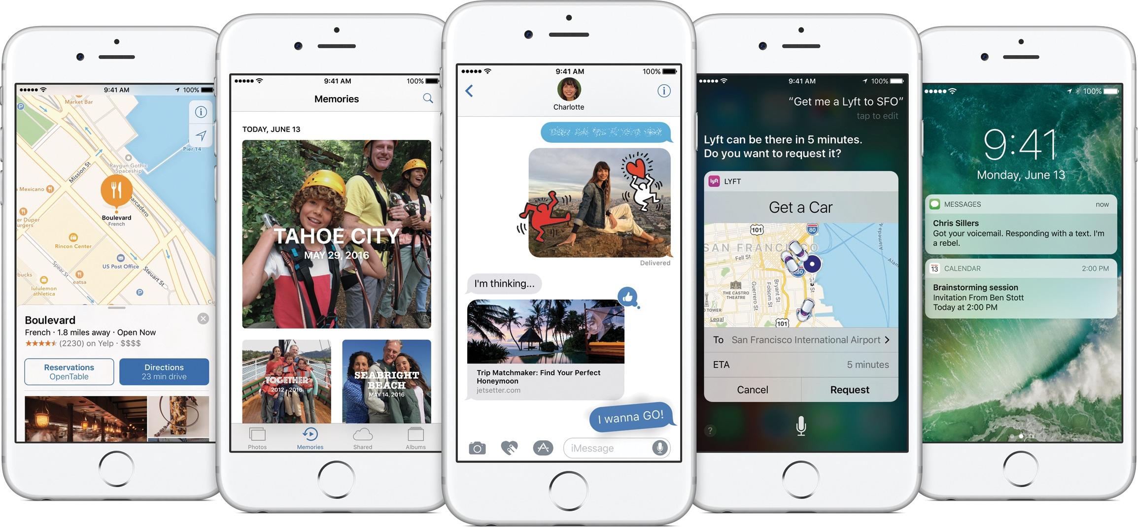 iOS 10 em vários iPhones