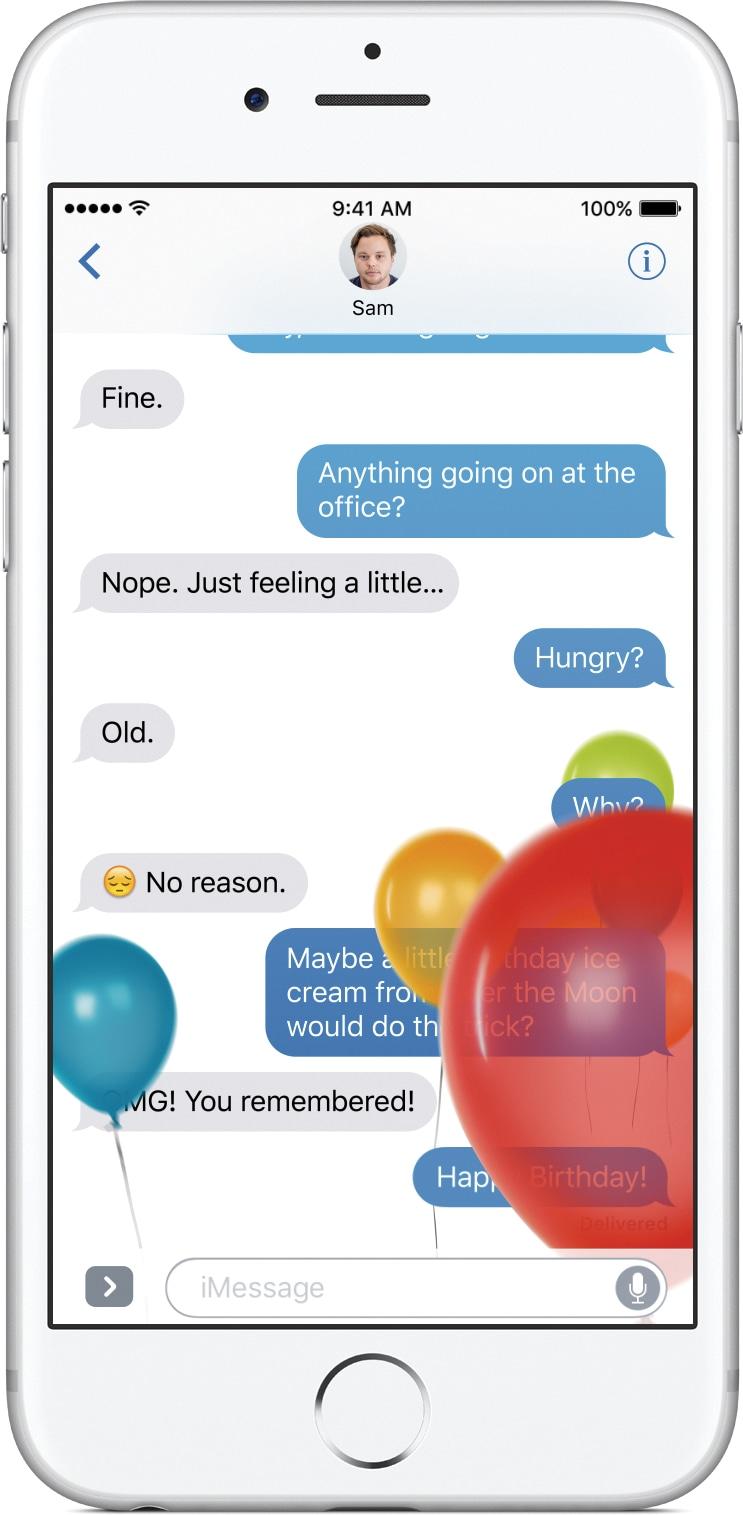 Mensagens do iOS 10 num iPhone