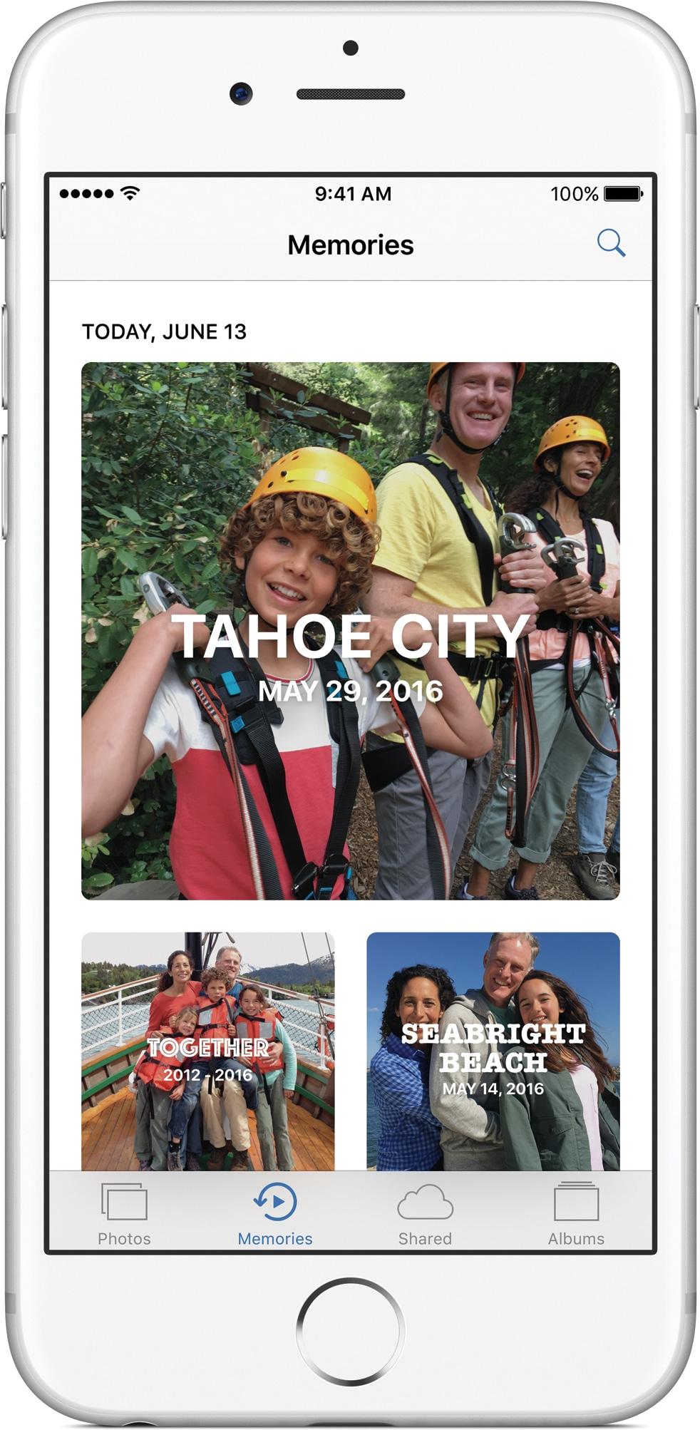 Memórias do Fotos do iOS 10 num iPhone