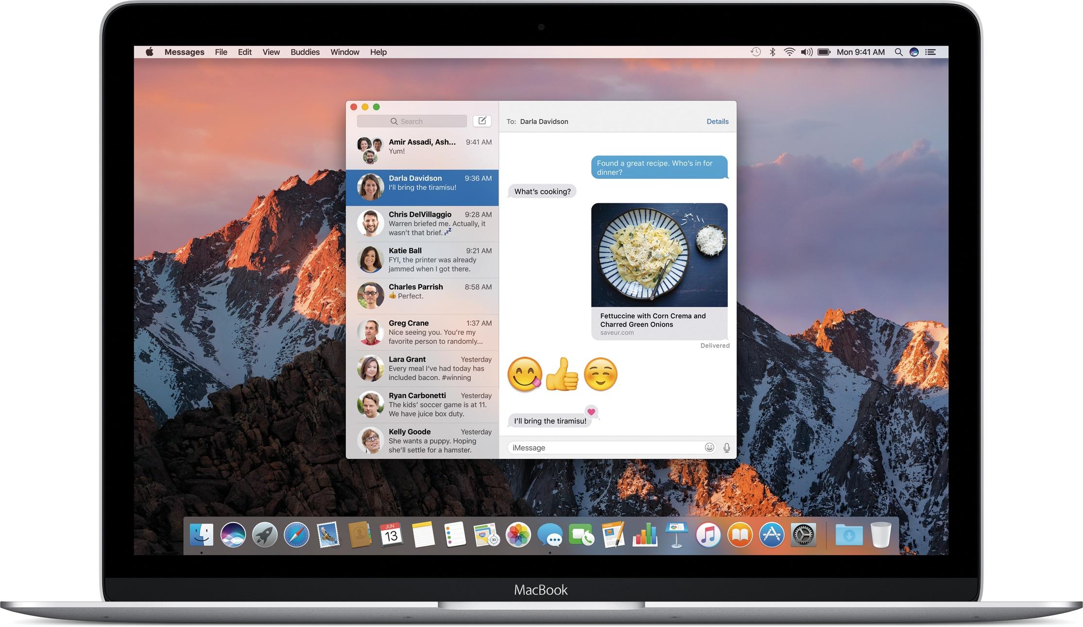 Mensagens do macOS Sierra num MacBook