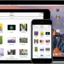 iCloud Drive do macOS Sierra num MacBook ao lado do app rodando em iPad e iPhone