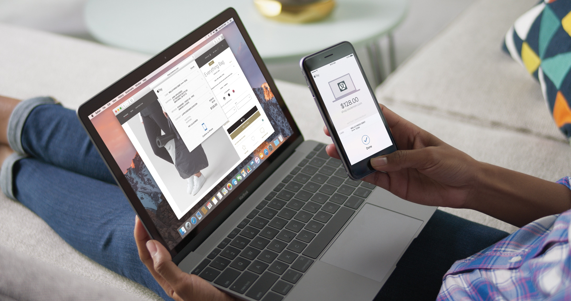 Apple Pay para a web rodando no macOS Sierra e num iPhone com Touch ID