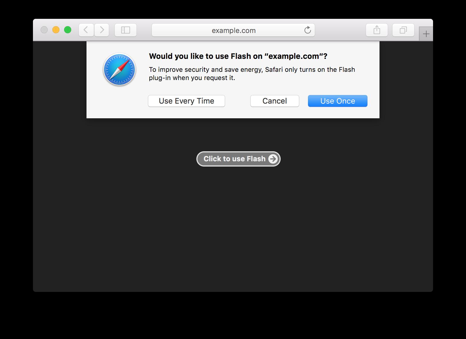 Ativação do Flash no Safari 10
