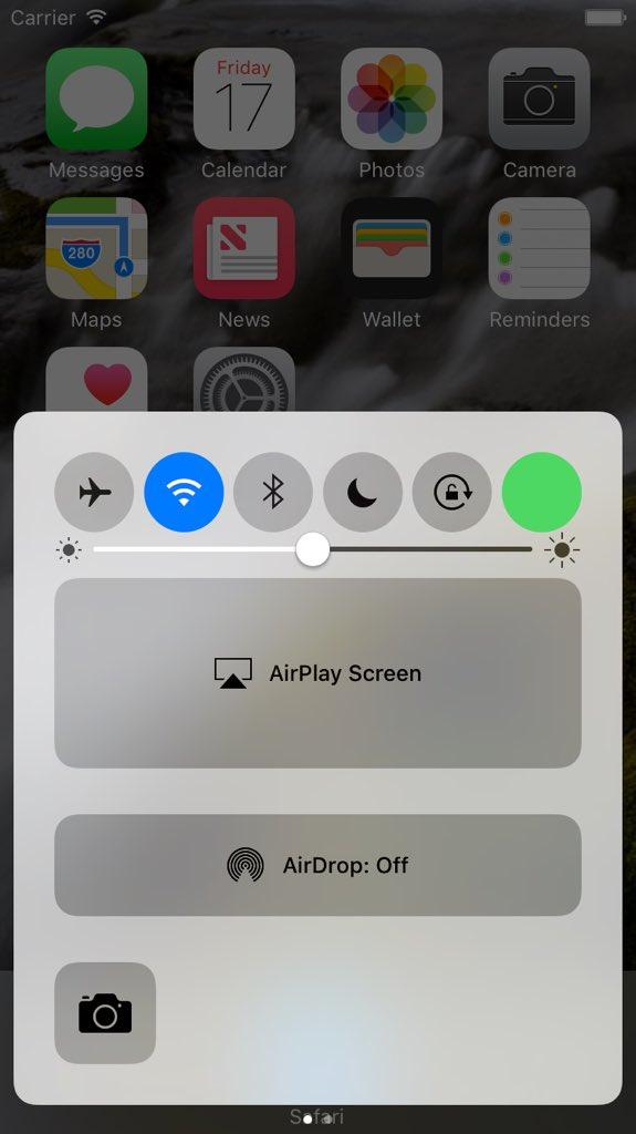 Dados celulares na central de controle iOS 10