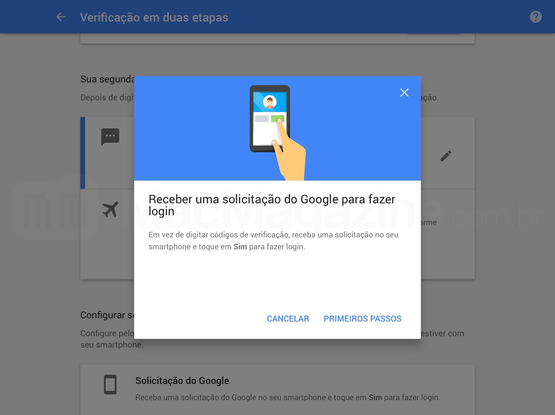 Nova verificação em duas etapas do Google