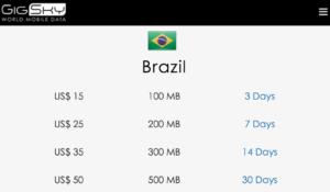 Planos da GigSky pelo Apple SIM no Brasil