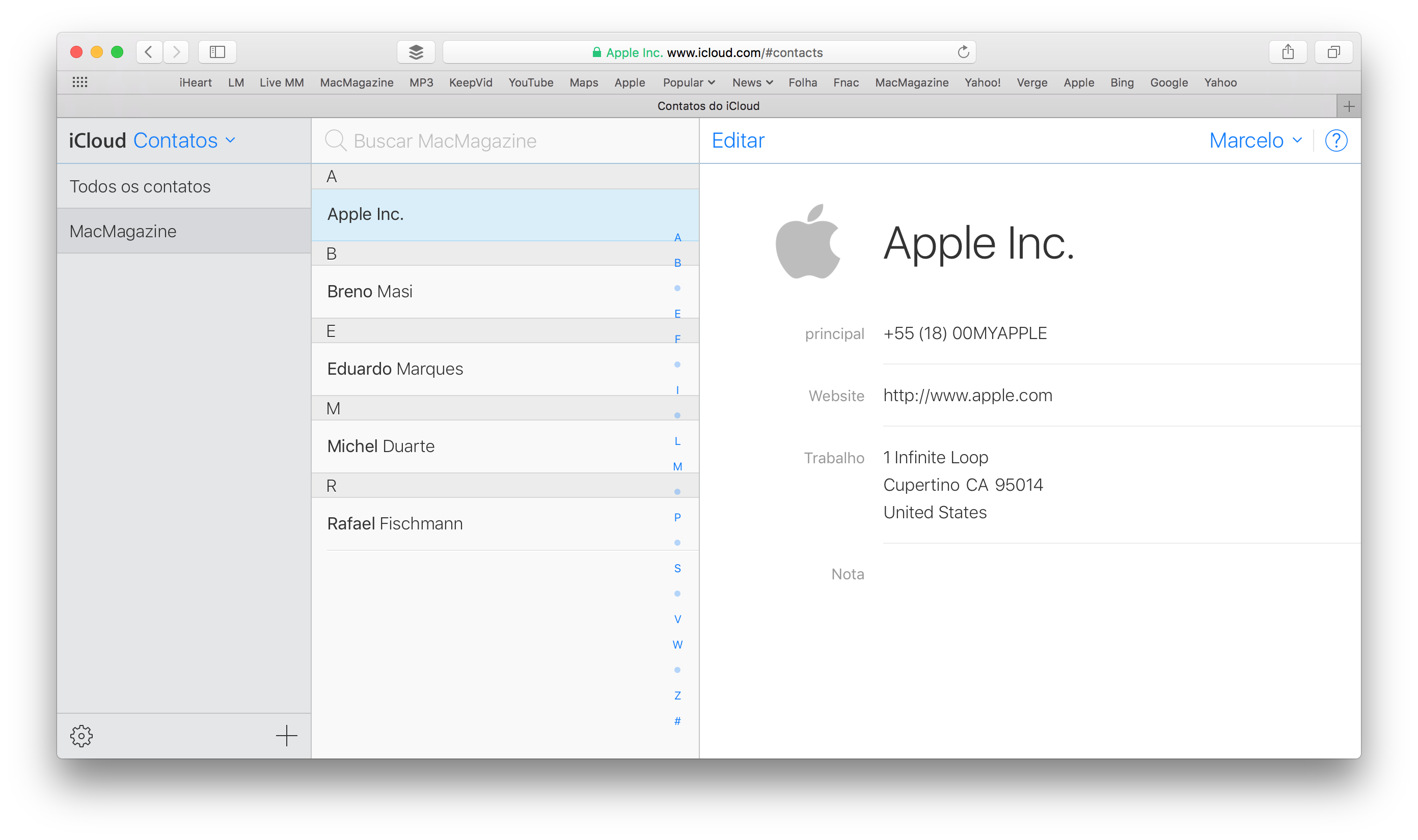 Grupos no iCloud