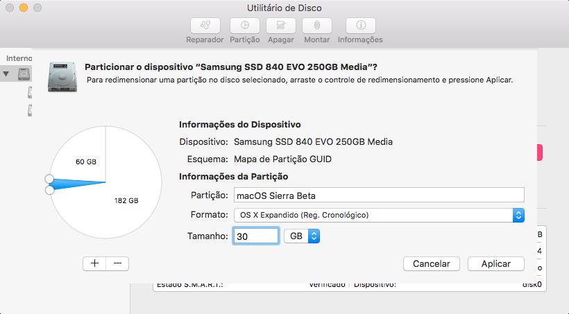 Criando partição no Utilitário de Disco do OS X