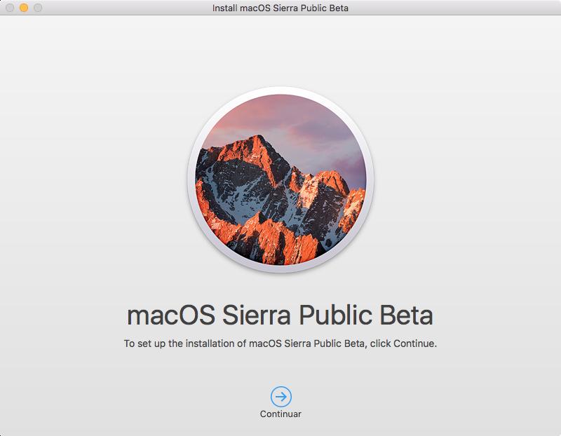 Tela inicial do instalador do macOS Sierra Public Beta