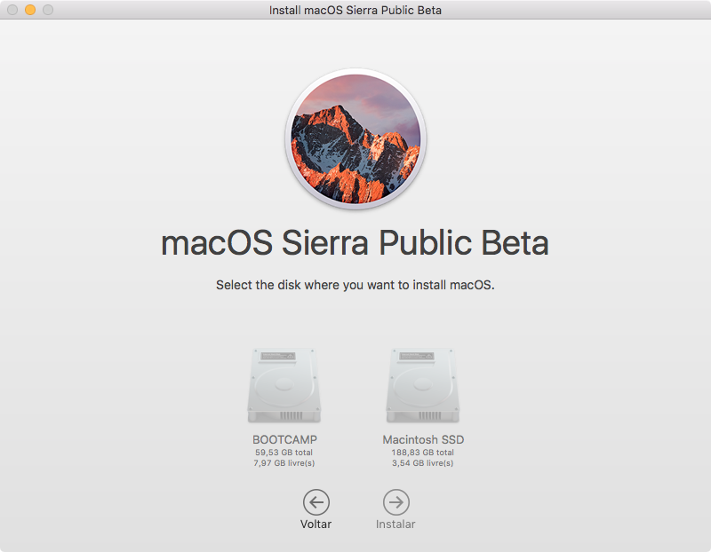 Seletor de volume para instalar o macOS Sierra Public Beta