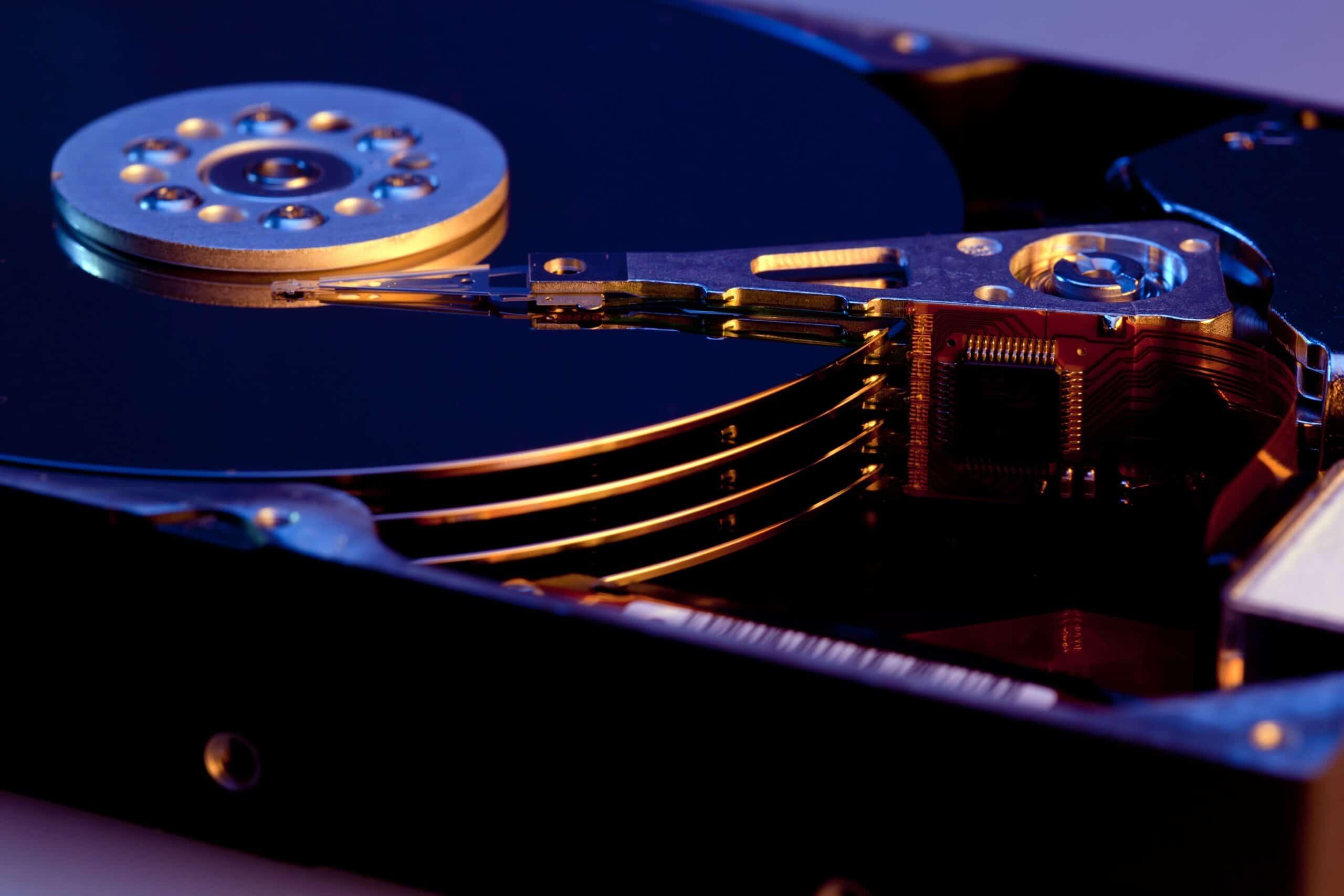 Close num disco rígido (HDD)