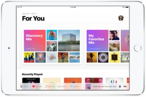 Apple Music rodando num iPad