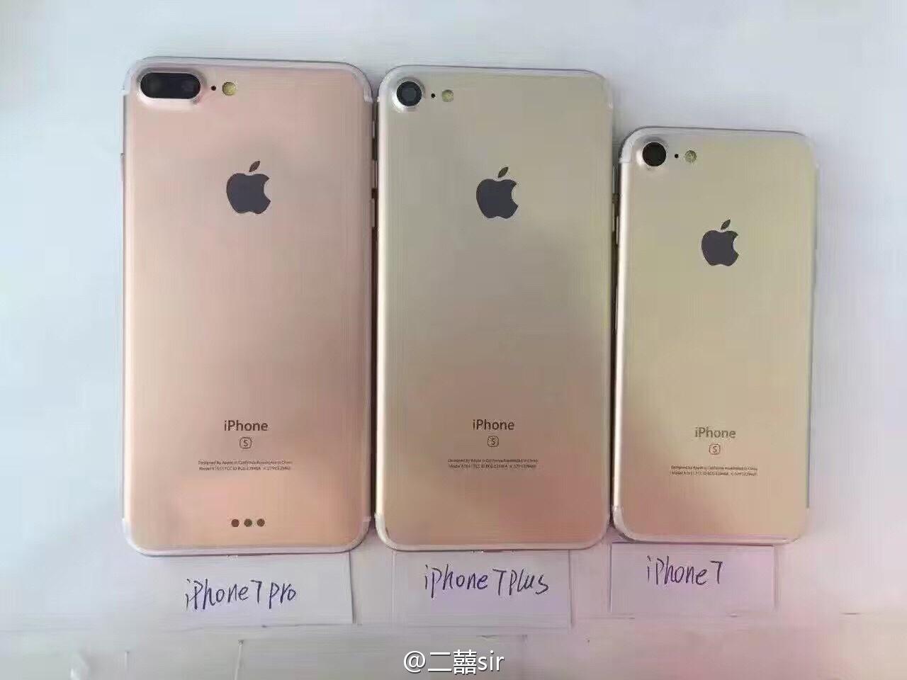 "Supostos modelos do ""iPhone 7"" lado a lado"