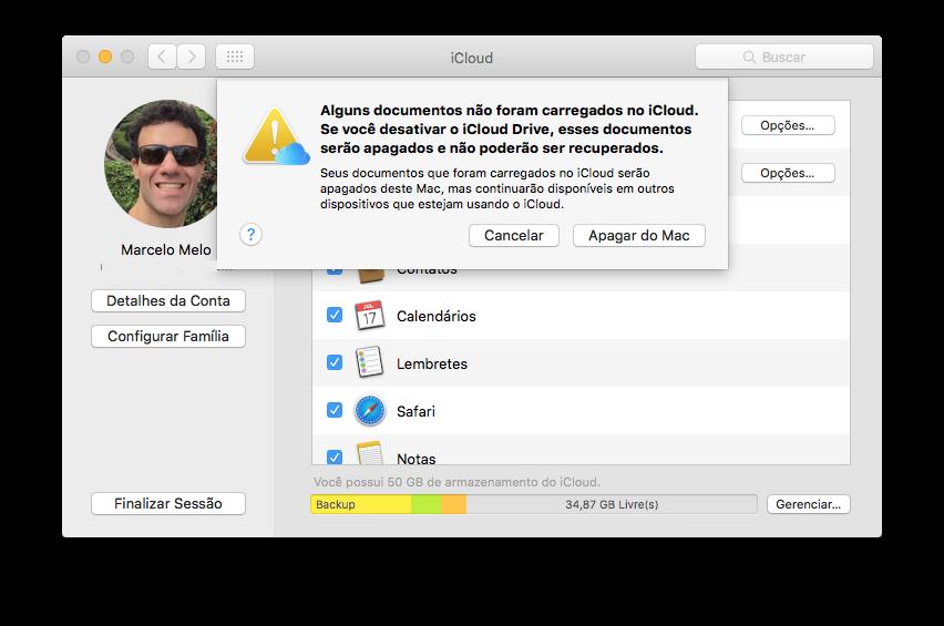 Removendo uma conta do iCloud no Mac