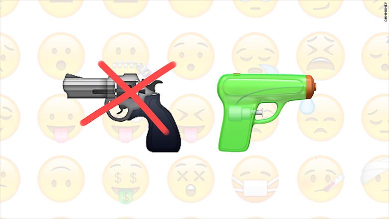 Emojis de revólver e arma d'água