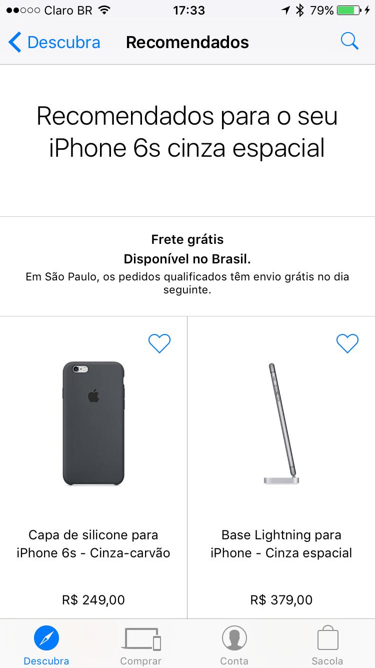 Recomendações no app Apple Store