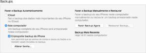 Backup do iGadget no iTunes