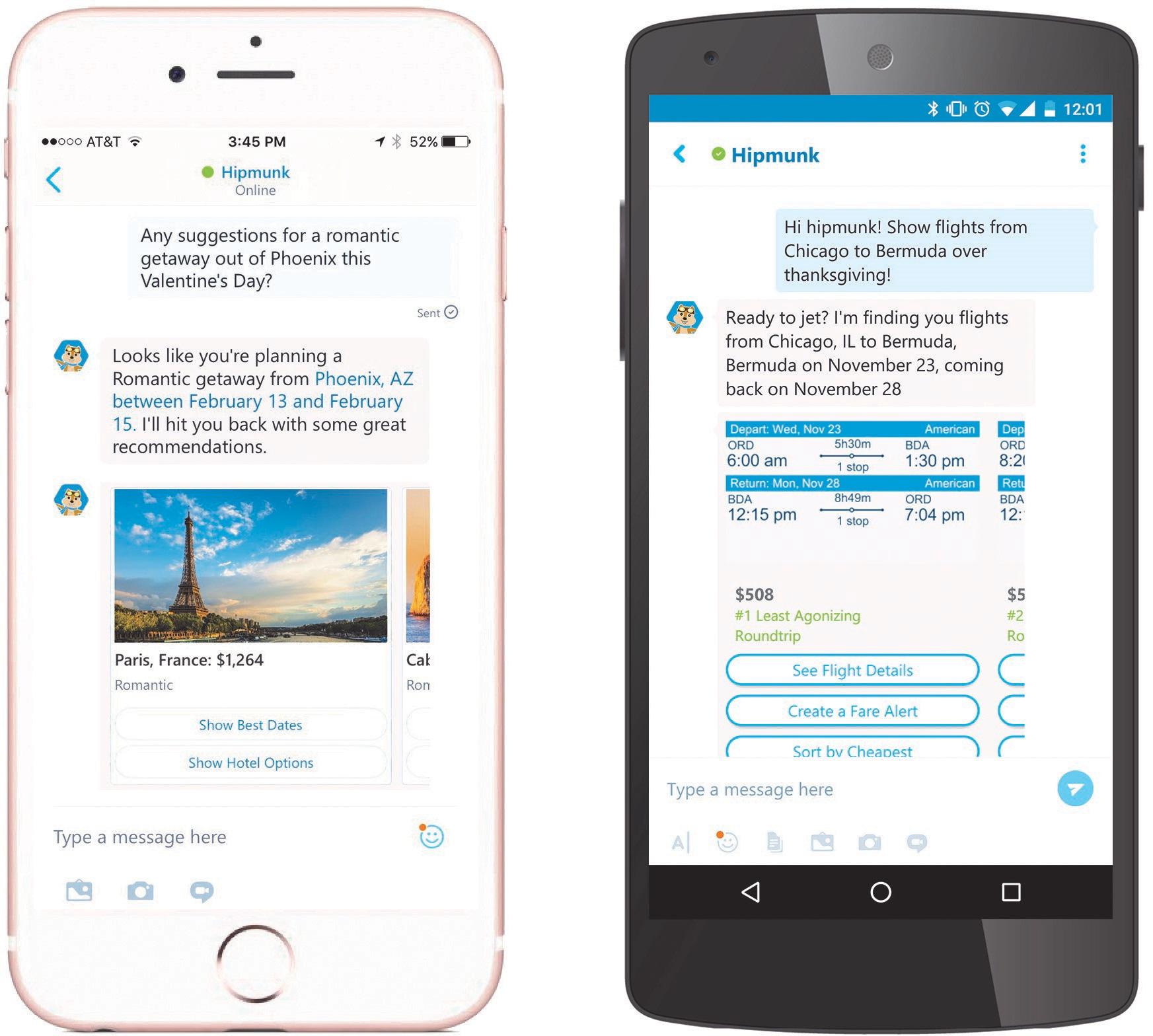 Chatbots do Skype em mobile