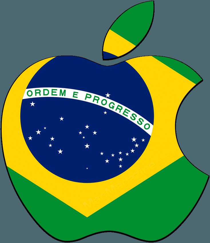 Logo da Apple (maçã) com a bandeira do Brasil
