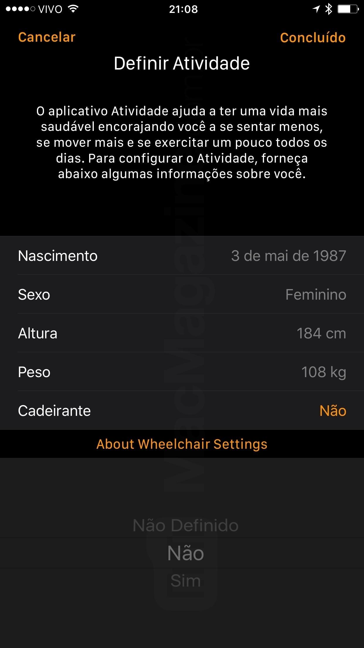 Definir opção de cadeirante no Apple Watch