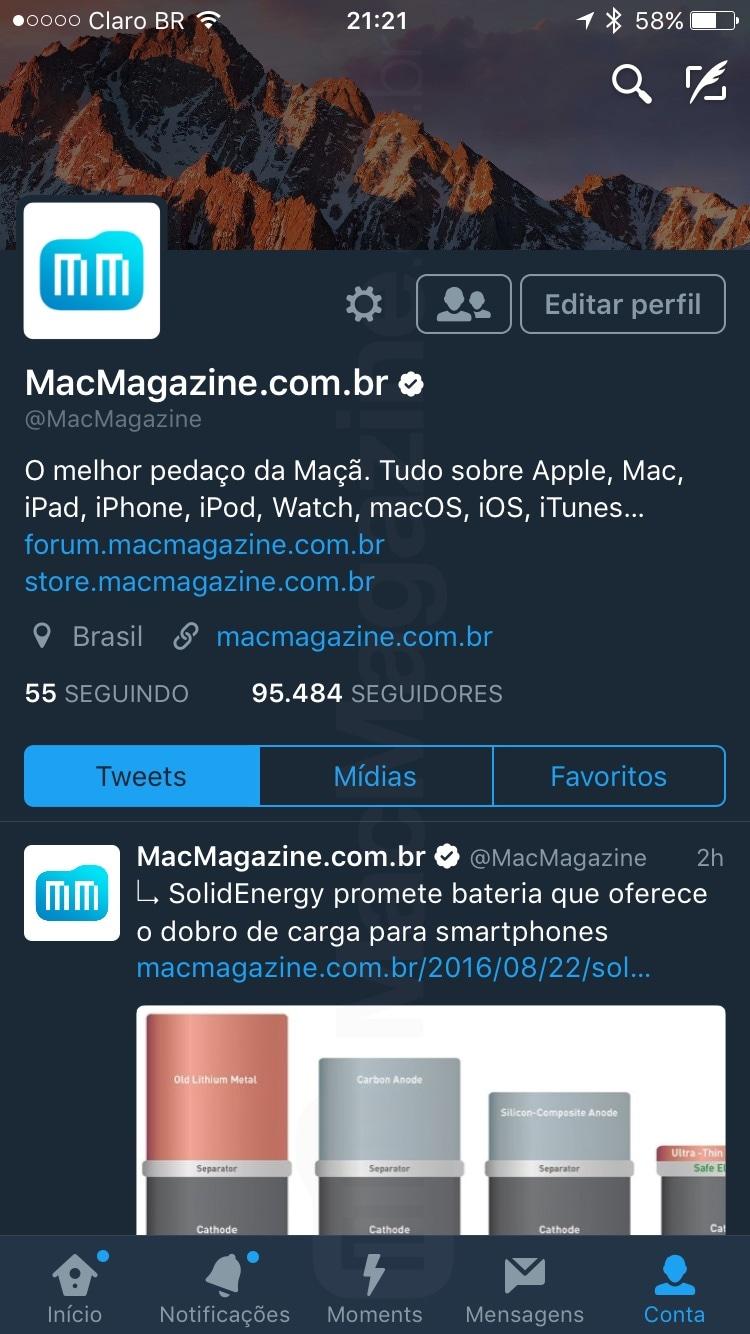 Modo noturno no app Twitter para iOS
