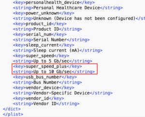 Código do macOS Sierra com string do USB 3.1 geração 2