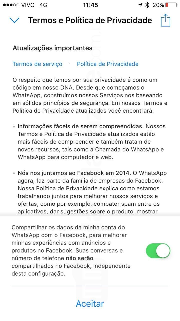 Novos termos do WhatsApp