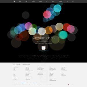 Página de transmissão do evento especial da Apple