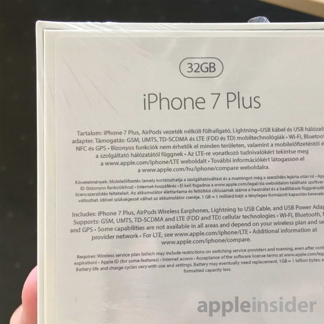 """Suposta caixa do """"iPhone 7 Plus"""""""