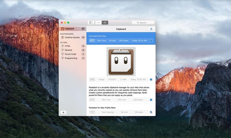 Aplicativo Pastebot para Mac
